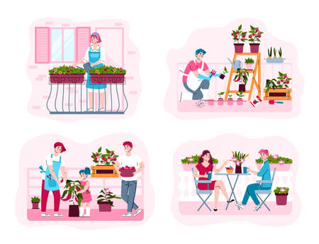 Urban farming or gardening concept. People watering flowers, care for green potted plants or sit the table and resting in home garden on city balcony. Vector isolated illustrations Stock Illustratie