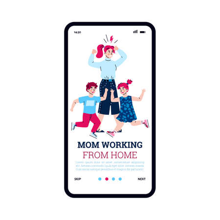 Onboarding page featuring working mother with children, cartoon vector illustration. Application screen for freelancing women and parents working from home.