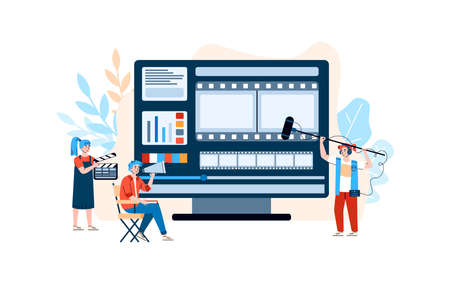 Filmmaking industry professionals at backdrop of huge PC monitor editing film and filming movie, flat cartoon vector illustration isolated on white background.