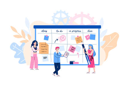 Agile development concept. Scrum team of people move color cards on board from start to finish process, analyzing strategy task or business project. Vector illustration