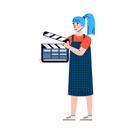 Movie director assistant woman with clapper cartoon character, flat vector illustration isolated on white background. Worker of film production industry or cinematography.