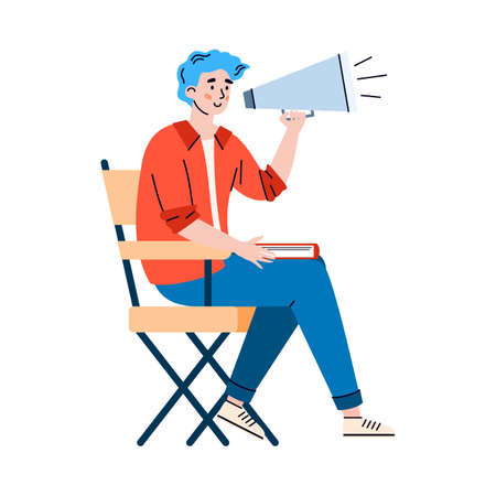 Male director of film with a megaphone directs film crew during shooting scene. Producer doing professional cinema movies production. Vector isolated illustration.  イラスト・ベクター素材