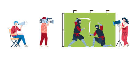Film making with actors, videographer, lighting engineer and director. Shooting scene battle of ninja. Entertainment movie production in studio. Vector flat isolated illustration