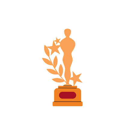 Golden trophy award with figure of man, flat vector illustration isolated on white background. Films and cinema gold Academy award symbol or sign.