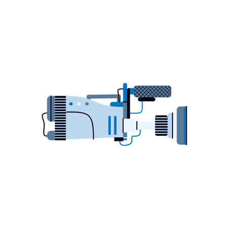 Filmmaking equipment. Professional digital video camera for shooting films and cinema movies. Technology of broadcasting news or tv show. Vector isolated illustration.