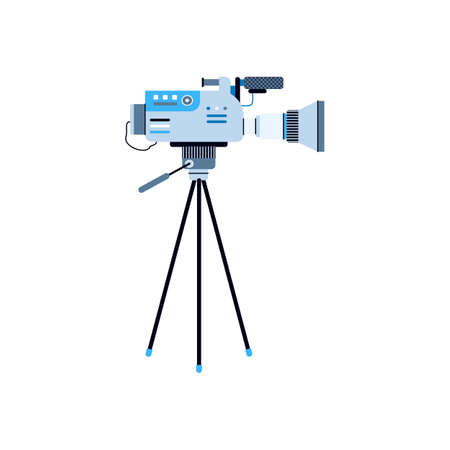Icon of digital video camera on tripod. Professional equipment for cinema production, shooting films and movies, broadcasting news or tv show. Vector isolated illustration.