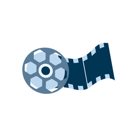 Video film reel with tape. Entertainment movie, cinematography element, motion picture on strip. Icon for cinema design. Vector illustration isolated on a white background.  イラスト・ベクター素材