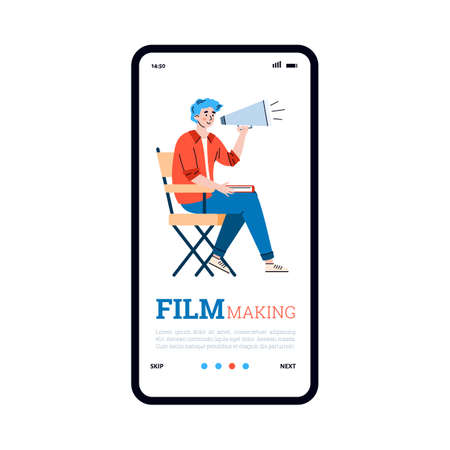 Mobile phone screen with male director of film with a megaphone in hands. Producer doing professional cinema movies production directing film crew on shooting. Vector illustration.