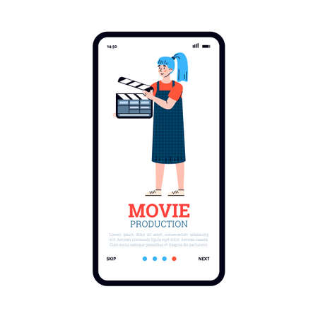 Mobile app on phone screen for professional film production. Assistant director with a clapper on shooting scene of cinema movie. Vector illustration.  イラスト・ベクター素材