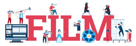 Film industry banner design with word Film written in big letters and cartoon characters of actors and filmmakers, flat vector illustration isolated on white background.