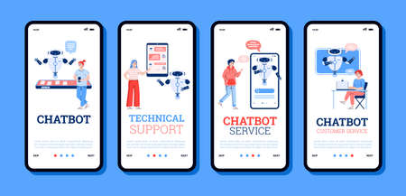 Technology of technical support in chatbot service for customers. A set of mobile phone screens with people communication in chat with virtual assistant. Vector illustrations.