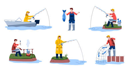 Set of scenes fishing. Fisherman on boat or off shore with fishing rod in water, happy fisher pulls net with catch out of river, man cook fish soup bonfire. Vector illustration.