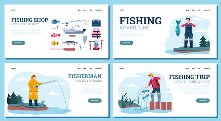 Website page templates for fishing shops and fishery trips with cartoon fishers, flat vector illustration. Collection of web page for fishing activity.