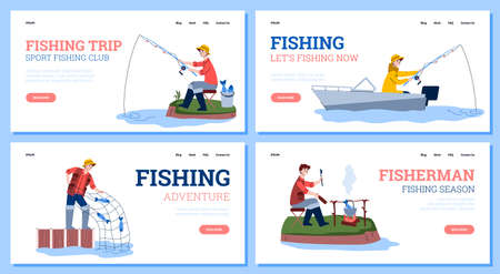 Advertise of fishing season, trip and adventure during catch fish, sport club for fisherman. Outdoor hobby, activity and leisure. Vector illustration. Landing page templates.