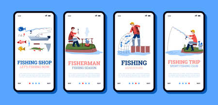 Onboarding mobile app page templates for fishing shops and fishery trips with cartoon fishers, flat vector illustration. Set of onboarding screens for fishery.