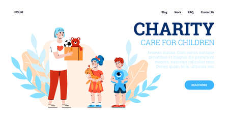 Charity and donation for children. Vector landing page template with volunteer giving box with toys to boy and girl. Volunteering, help, support for kids from poor family or orphans Vecteurs