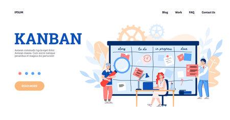 Website or webpage for Kanban scheduling system to improve manufacturing efficiency, flat cartoon vector illustration. Business team at backdrop of huge planning board.
