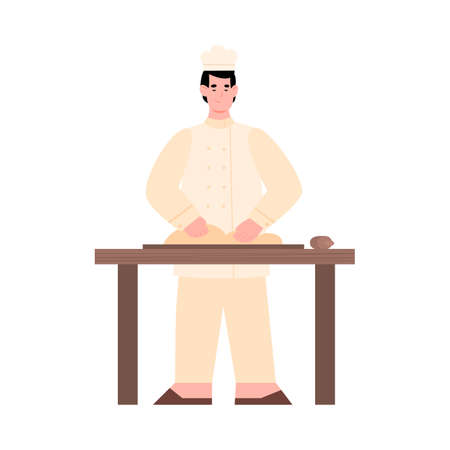 Baker kneading dough standing at table and cook bread, pie, pizza or pastry. Chef preparing food in kitchen bakery, cafe or restaurant. Flat vector isolated illustration.