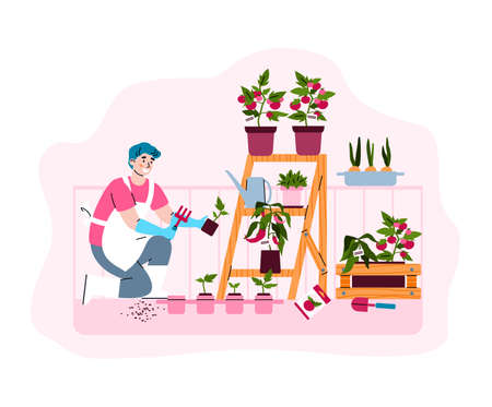 Farming and gardening on city green balcony. Man caring for agricultural plants and growth vegetables. Vector isolated illustration. Stock Illustratie
