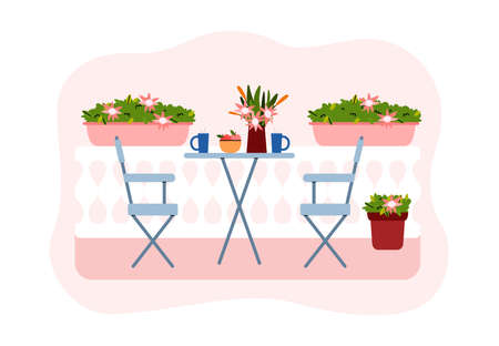 Blossoming flowers, green potted plants and furniture for resting on city balcony. Urban farming or gardening concept. Beautiful exterior of house or apartment. Vector illustration