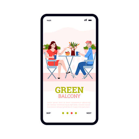 Green city balcony. Young man and woman sit at table, drink beverages, talk and resting in home garden among flowers and potted plants. Mobile phone screen. Vector illustration. Vector Illustratie