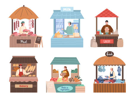 Set of local farmers characters behind stall counters. Local marketing retail business owners in their booths, cartoon vector illustration isolated on white background.