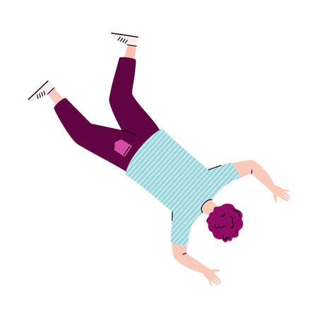 Falling upside down character. Person floating, flying or moving in air space or sky. Flat vector illustration isolated on white background.
