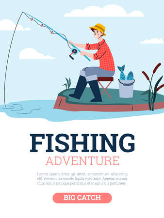 Fisherman catch fish sitting on shore. Man holds fishing rod in water and waits for bite. Vector poster with advertise of outdoor adventure, hobby, activity and leisure for fishers Vecteurs