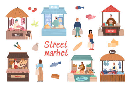 Street market set with local farmers cartoon characters behind stall counters. Local market booths and sellers, cartoon vector illustration isolated on white background.
