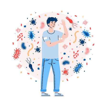Man with weak immune system not protected from attacks viruses, germs and bacteria. Bad habits and unhealthy lifestyle as cause of poor immunity. Flat vector isolated illustration. Vector Illustration