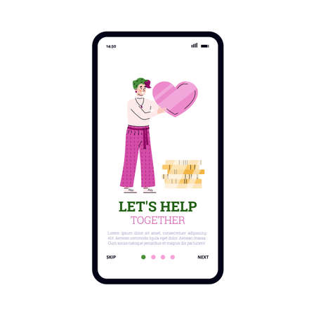 Donation, charity and help with money. Mobile phone screen with female volunteer who with love collecting coins for social support and help poor homeless people. Vector illustration