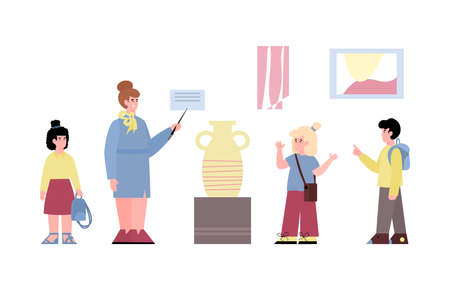 Museum visitors - preschool kids listening woman guide on exhibition in art culture gallery. Flat vector illustration isolated on a white background