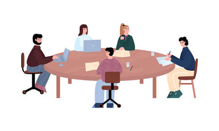 Business people negotiation scene with cartoon characters, flat vector illustration isolated on white background. Business partners leading negotiation at big desk.