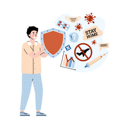 Man upset with information about pandemic and quarantine, cartoon vector illustration isolated on white background. Covid crisis and information overload metaphor.