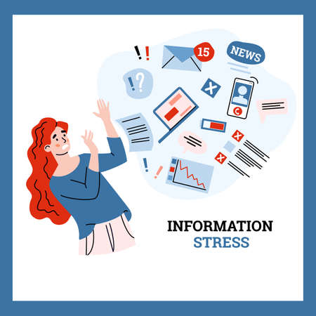 Young woman tries to stop stress and information overload by data stream. Multitasking problem and overloading by breaking news from internet. Flat vector illustration.