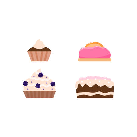Set of festive birthday cakes and pies with cream and berries, flat cartoon vector illustration isolated on white background. Collection of sweet baked desserts.