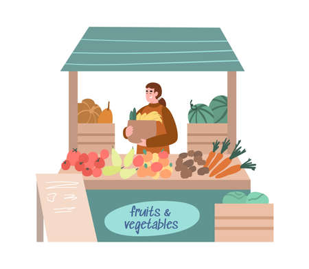 Street food fair counter with marketer selling fruits and vegetables, cartoon vector illustration isolated on white background. Street local market booth or stall.