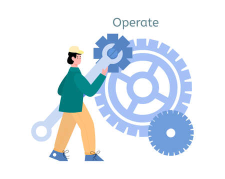 Male devops specialist development software, operation with information processes