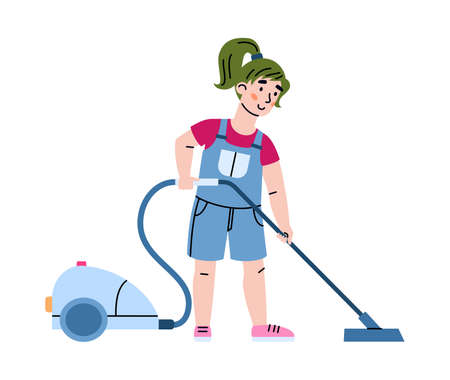 Child busy with housework and vacuums the floor, vector illustration isolated.