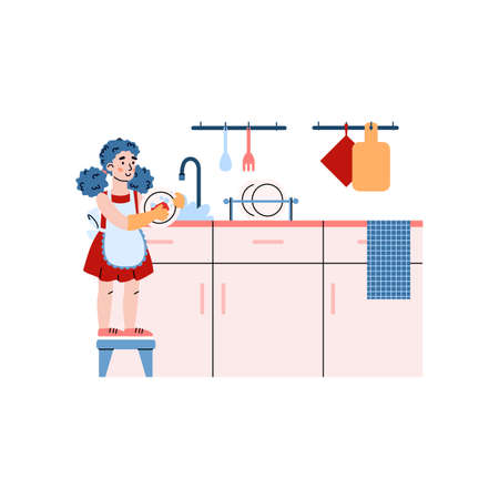 Child girl busy household on kitchen - washing dishes a vector flat illustration Vector Illustration