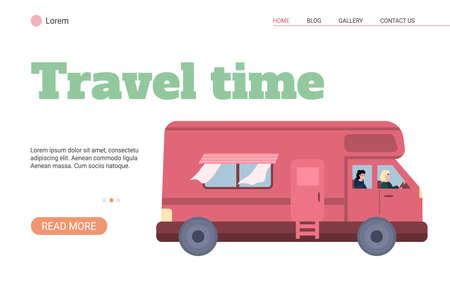 Red van, camper car for family travel and tourism at summer vacation Vektoros illusztráció