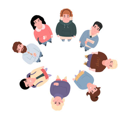Top view on smiling standing in circle people look up a vector illustration