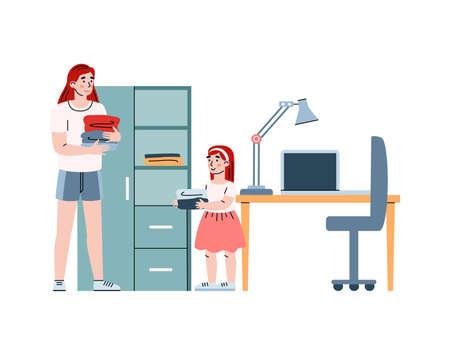 Little girl helping her mother sorting laundry, cartoon vector illustration. Vettoriali