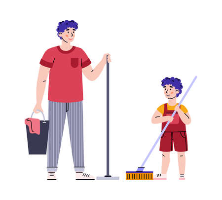 Father and son with mops ready to clean the house, vector illustration isolated. Vetores