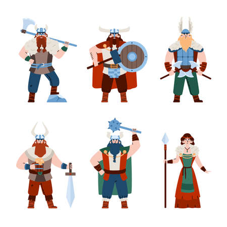 Viking people men and women characters set, flat vector illustration isolated. Vector Illustration