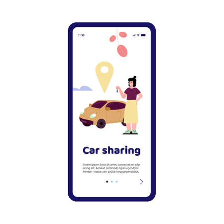Adaptation page for online car sharing services, vector cartoon illustration.