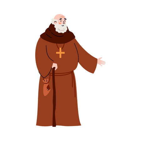 Medieval priest or monk cartoon character, flat vector illustration isolated.