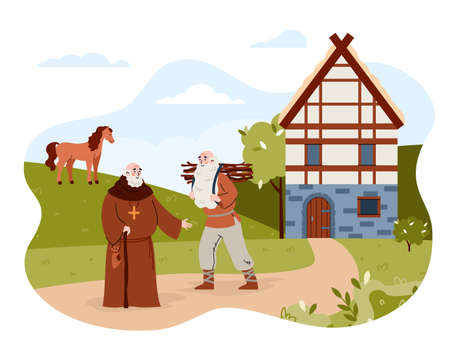 Medieval city or village with priest and peasant, vector illustration isolated. Vecteurs