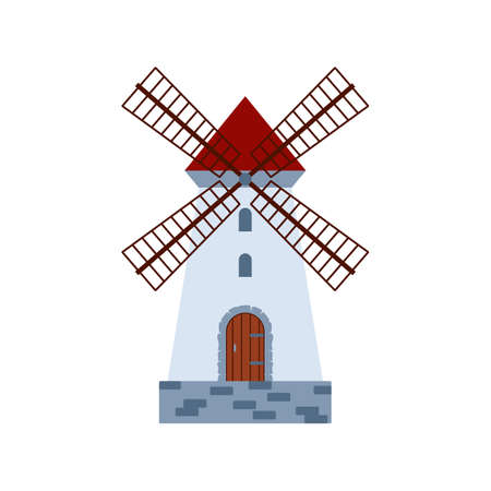 Icon of traditional stone medieval rural wind mill a vector illustration. Vettoriali