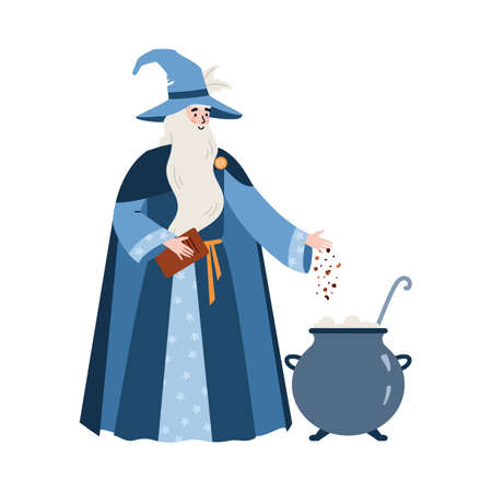 Medieval wizard brewing magic potion in pot, flat vector illustration isolated.